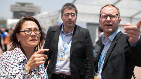 Petter Lydén (right) at UN climate negotiations in Lima, Peru, December 2014. Photo: Sean Hawkey/LWF