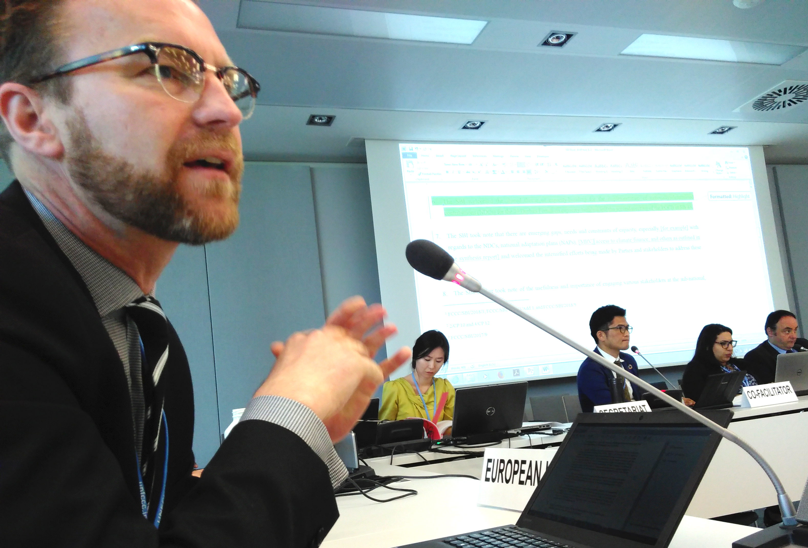 Petter Lydén speaking for the EU in the UN climate negotiations in Bonn, May 2018
